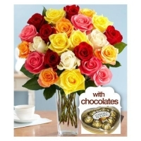 Multicolored Roses w/ferrero