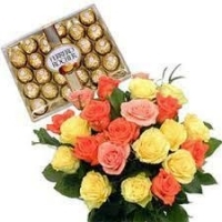 Bunch of 12 Mix Roses with 24 Pcs Ferrero Rochers