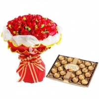 Combos,Red Roses with Ferrero Rocher