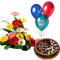Gerberas cake and balloons
