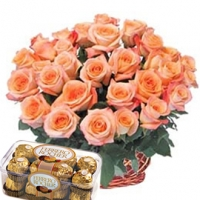 Basket with Roses & Ferrero
