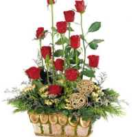 fresh Red Rose Basket