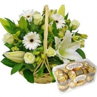 Mix White Flower Basket N Rocher Chocolate Box