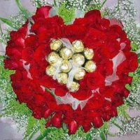 88 Red Roses With 11 Ferrero Rocher