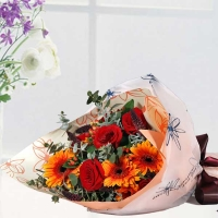 6 Red Roses & 5 Orange Gerbera