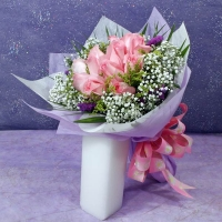12 Pink Roses Hand Bouquet