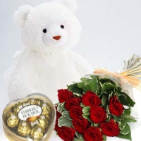 A bear, roses and a Ferrero combo.