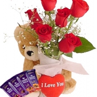 Teddy with Roses & Cadbury Silk