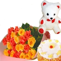 Roses with Teddy Bear N Cake