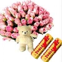 Pink Roses with Teddy N Chocolates
